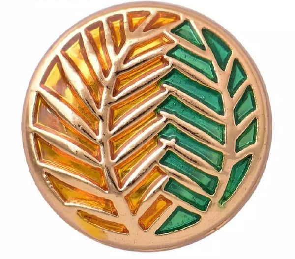 Leaves Snap Charm, Green and Gold 18mm. Ginger Snap Button Compatible