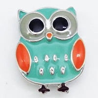 Teal and Orange Owl Snap Charm 18mm