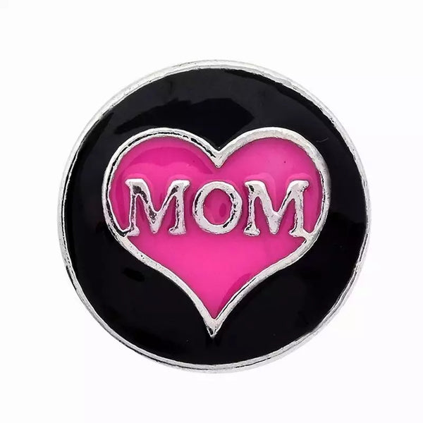 Mom Heart Snap Charm 18mm