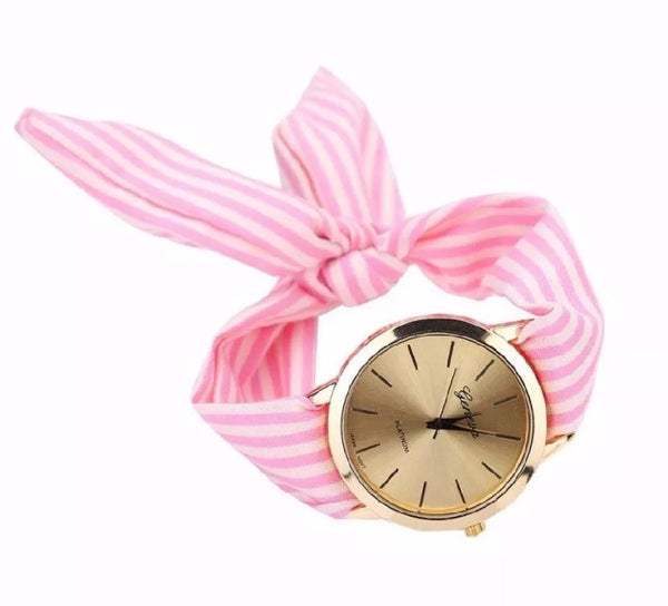 Pink Striped Watch with Fabric Band