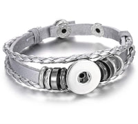 Silver Leather Simple Snap Bracelet 18mm