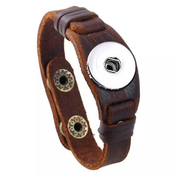 Soft Brown Leather Snap Bracelet 18mm