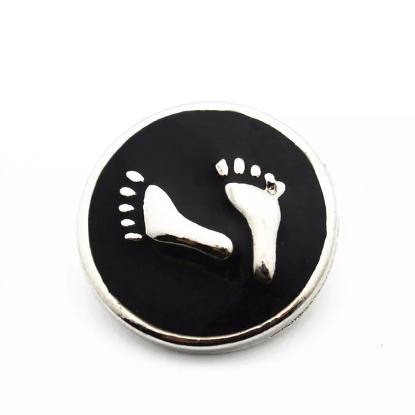 Black Baby Feet Snap Charm 18mm
