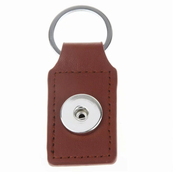 Brown Leather Snap Key Chain 18mm