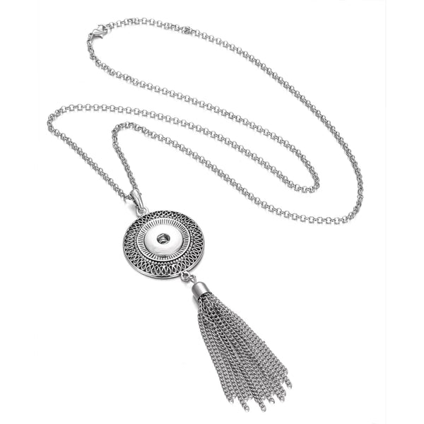 Bohemian Halo Long Necklace with 32 inch chain 18mm