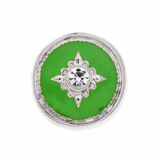Green Sparkle Snap Charm 18mm
