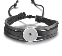 Black Leather Simple Snap Bracelet 18mm
