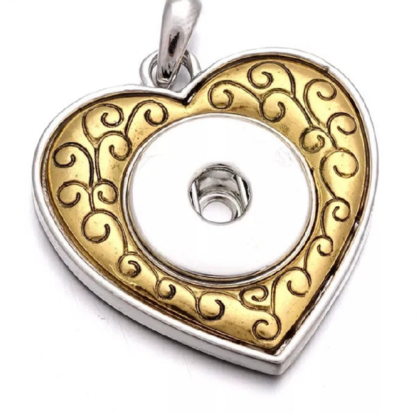 Gold aand Silver Heart Snap Necklace with 18 inch nickel free chain 18mm