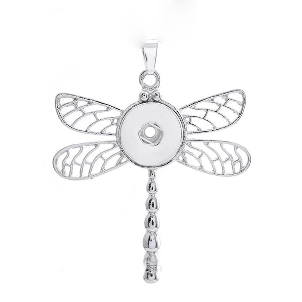 Dragonfly Snap Necklace with 18 inch nickel free chain 18mm