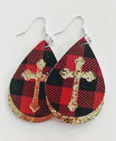 Cross Plaid and Gold Earrings