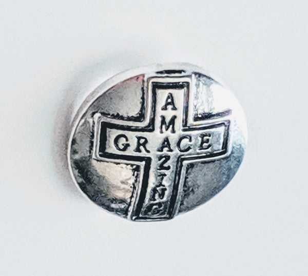 Amazing Grace Cross Ginger Snap Compatible Snap Charm 18mm
