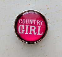 Country Girl Ginger Snap Button Compatible Charm 18mm