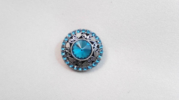 Crystal Blue Snap Charm 18mm