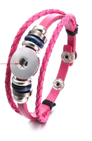Pink Leather Simple Snap Bracelet 18mm