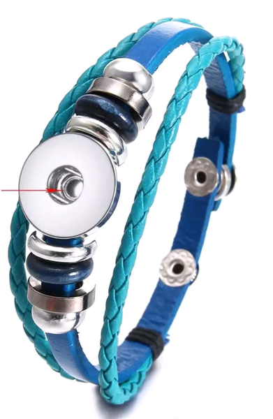 Blue Leather Simple Snap Bracelet 18mm