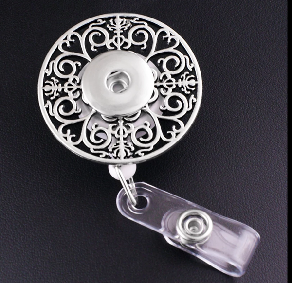 Large Round Badge Reel ID Holder retractable Snap 18mm