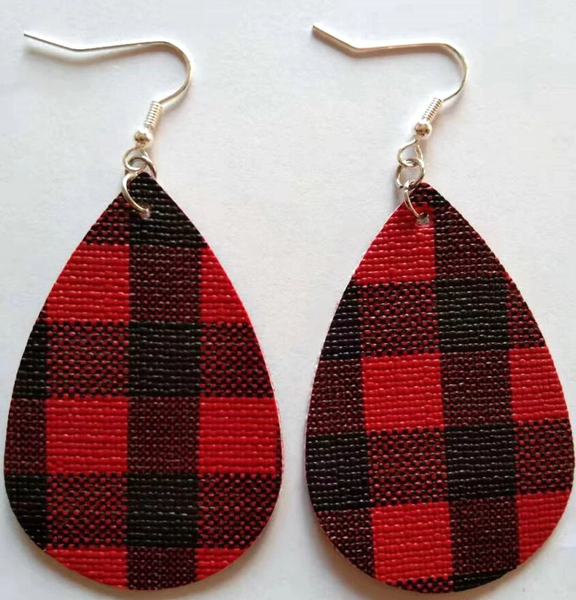 Buffalo Plaid Red and Black Earrings