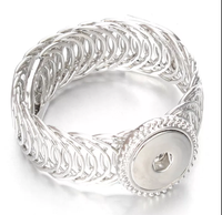 Wide Wrap Snap Silver Bracelet 18mm