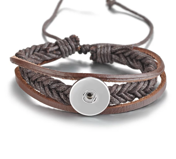 Brown Braided Adjustable Leather Snap Bracelet 18mm