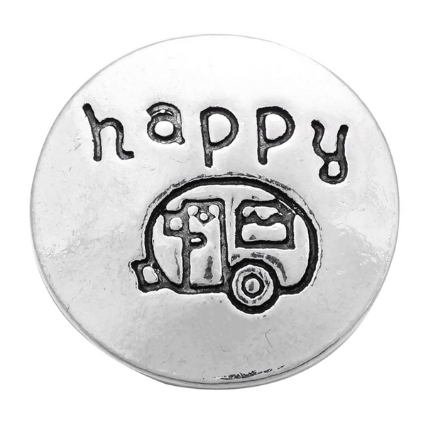 Happy Camper Ginger Snap Button Compatible Charm 18mm