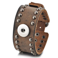 Leather Stud Snap Cuff Bracelet 18mm