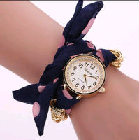 Charming Navy Polka Dot Watch with Fabric Band