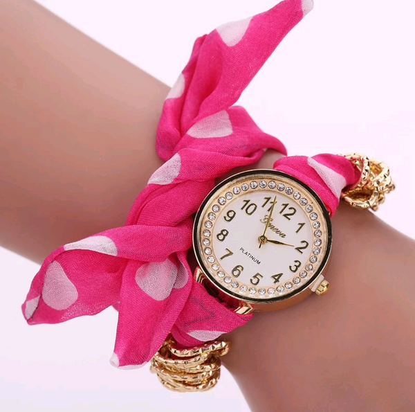 Charming Pink Polka Dot Watch with Fabric Band
