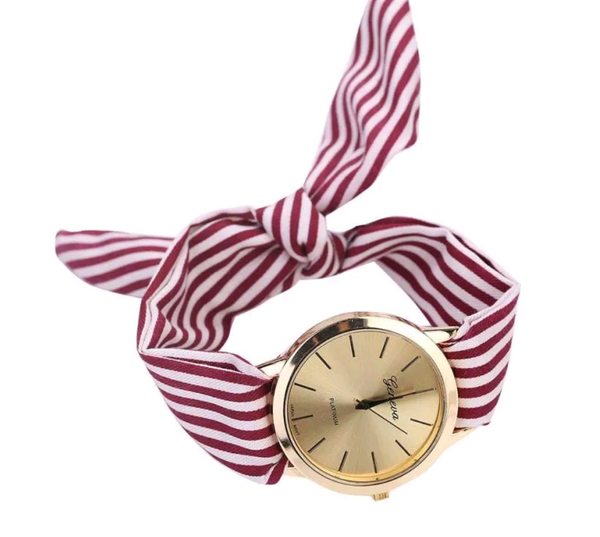 Red Striped Watch with Fabric Band