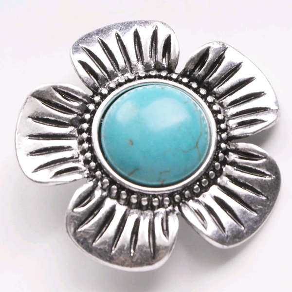 Turquoise Stone Flower 18mm with large diameter