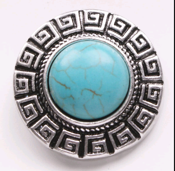 Turquoise and Silver Boho Snao Charm 18mm large diameter