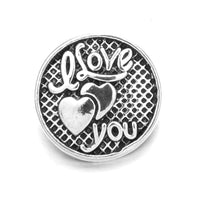 I Love You Silver Heart Snap Charm 18mm