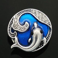 Dolphin and Waves Snap Charm 18mm