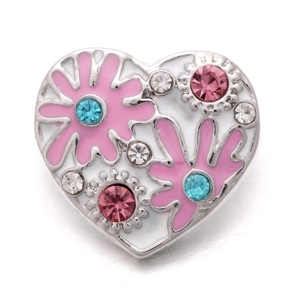 Flower Heart Snap Charm 18mm