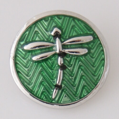 Green Dragonfly Ginger Snap Compatible Charm 18mm