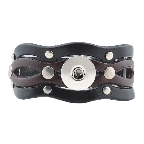Leather Wave Snap Bracelet 18mm