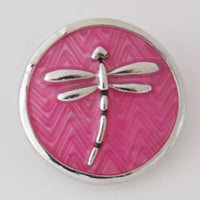 Pink Dragonfly Ginger Snap Compatible Snap Charm 18mm