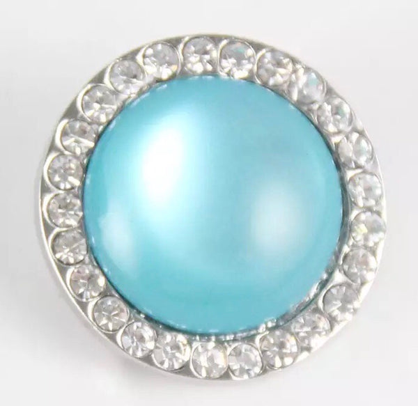 Blue Rhinestone Snap Charm 18mm