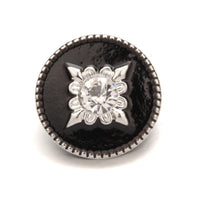 Black Compass Snap Charm 18mm