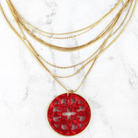 Red Resin Medallion Layered Gold Necklace