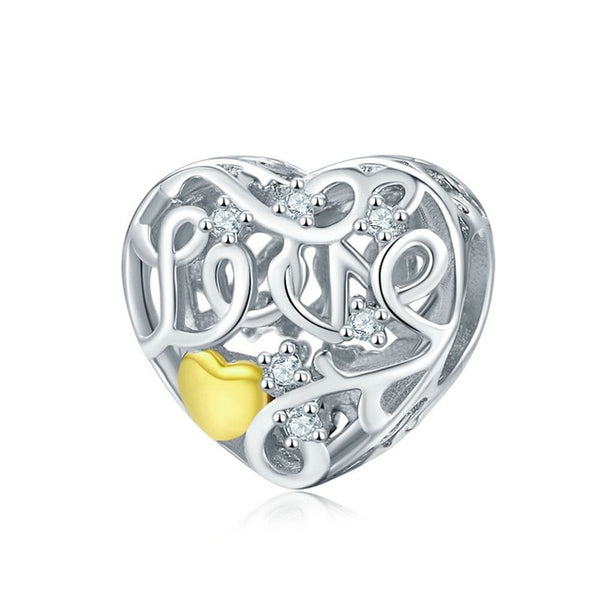 Love Pandora Compatible 925 Sterling Silver Heart Shape Charm