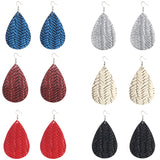 Basket Weave Teardrop Leather Earrings 22 colors