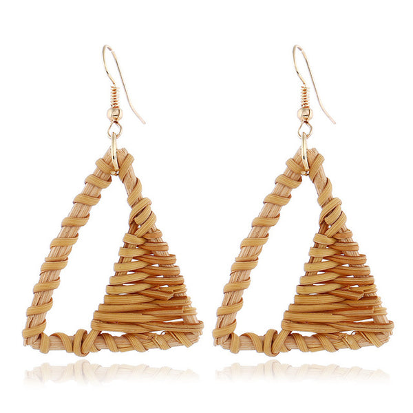 Wicker Rattan Earrings Bamboo Weaving Triangle