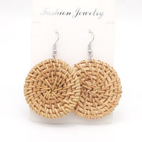 Wicker Rattan Earrings Bamboo Weaving Circle