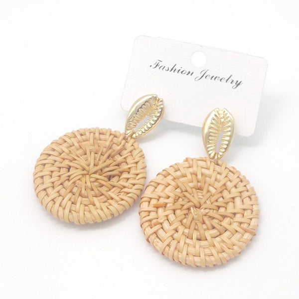 Tan Wicker Rattan Disc Earrings Bamboo