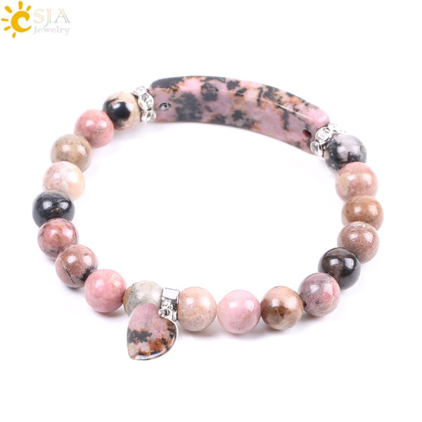Natural Gem Stone Bangles Rhodonite Love Heart