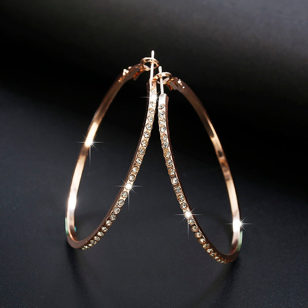 Designer Gold Hoop Earrings With Rhinestones