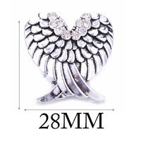Angel Wings Heart 18mm Snap Button