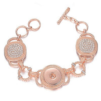 Crystal Snap Bracelet Fit 18mm Snap Button Toggle Clasp