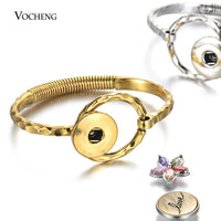 Vintage Open Bangle Circle Ring Link with Spring fit 18mm Snap Charms Silver Gold