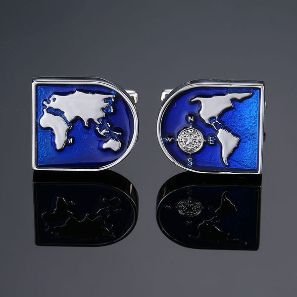 World Map Globe Men's French shirts cufflinks